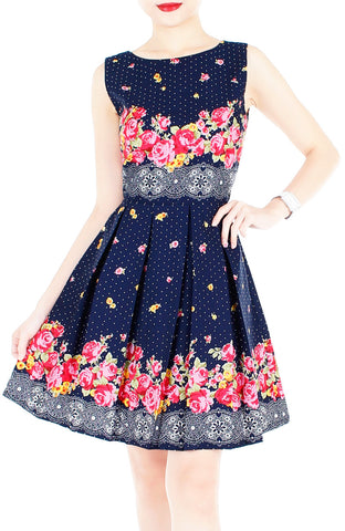Falling Rose Blooms Flare Dress - Dark Blue