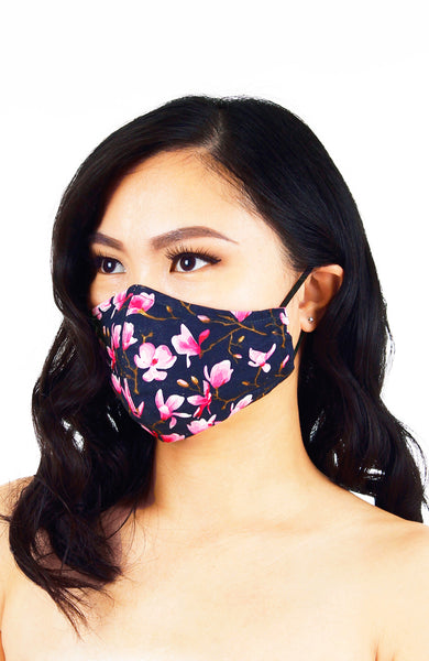 Falling Cherry Blossoms Pure Cotton Face Mask - Night Blue