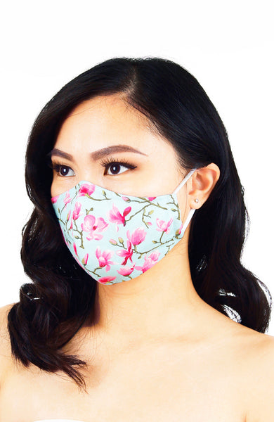 Falling Cherry Blossoms Pure Cotton Face Mask - Sky Blue
