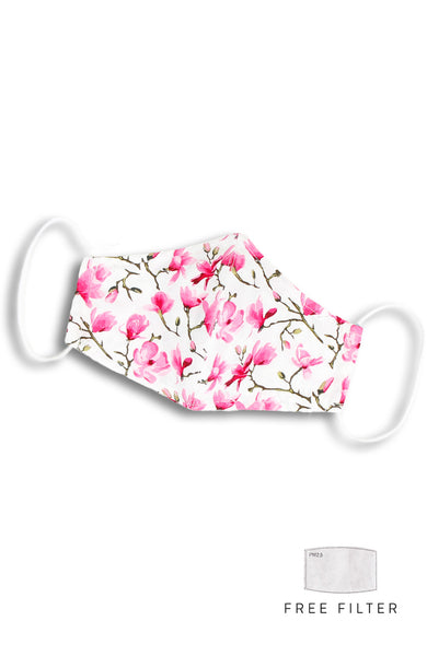 Falling Cherry Blossoms Pure Cotton Face Mask - White