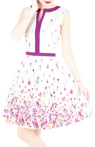 Falling Florals & Confetti Flare Dress with Violet Trims