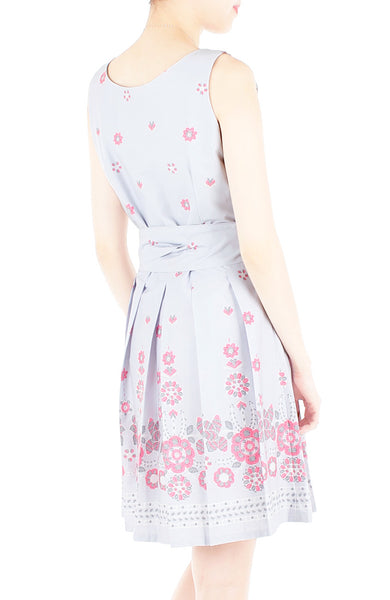 Falling Mandala Petals Two-Way Flare Dress - Lilac