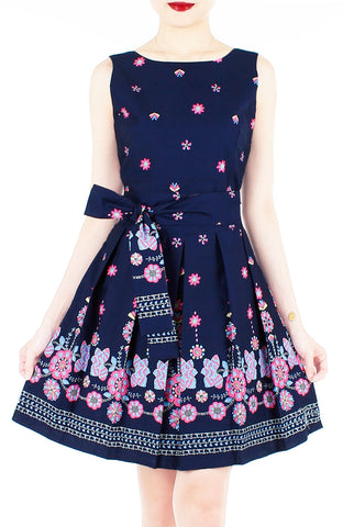 Falling Mandala Petals Two-Way Flare Dress - Night Blue