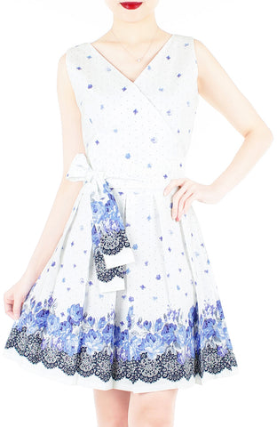 Falling Rose Blooms Two-way Flare Dress - Porcelain Blue