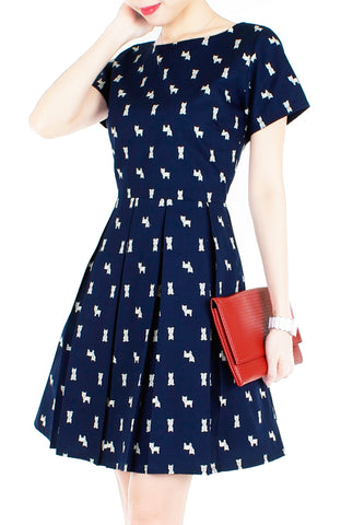 Falling in Puppy Love Flare Dress with Short Sleeves
