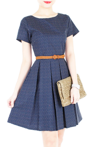 Famously Feminine Ferns Flare Dress with Short Sleeves