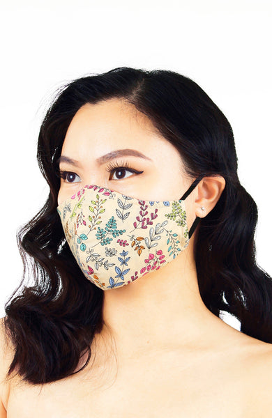 Ferns Illustrated Pure Cotton Face Mask - Crème