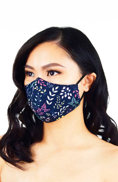 Ferns Illustrated Pure Cotton Face Mask - Midnight Blue
