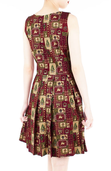 Festive Christmas Cheer Flare Dress with Gold Lining