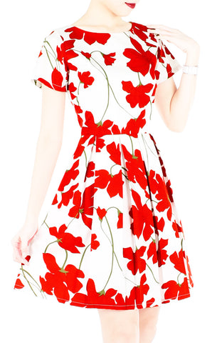 Fleur Freesia Flare Dress with Short Sleeves - Red