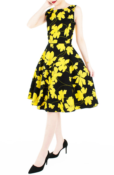 Fleur Freesia Flare Midi Dress - Yellow
