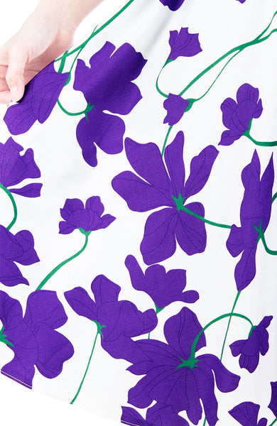 Fleur Freesia Flare Midi Dress - Purple