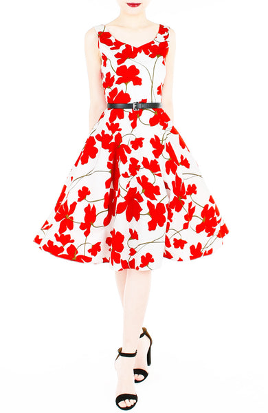 Fleur Freesia Flare Midi Dress - Red