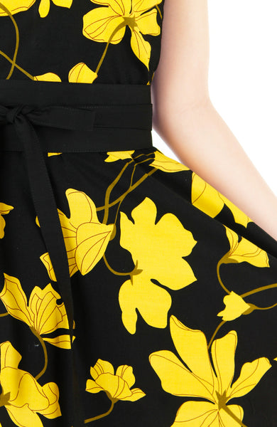 Fleur Freesia Flare Tea Dress - Yellow