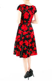 Fleur Freesia Flare Tea Dress - Scarlet