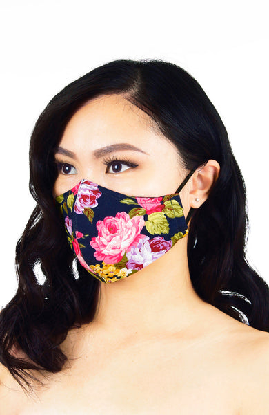 Florescence Roses Pure Cotton Face Mask - Night Blue