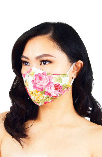 Florescence Roses Pure Cotton Face Mask - Pearl White
