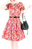 Flourishing Florals Flare Dress with Short Sleeves