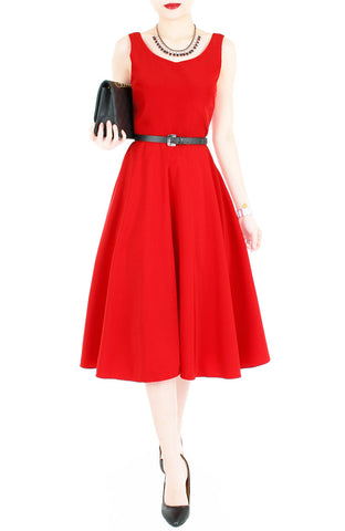 Flowy Fantasy Flare Midi Dress - Lipstick Red