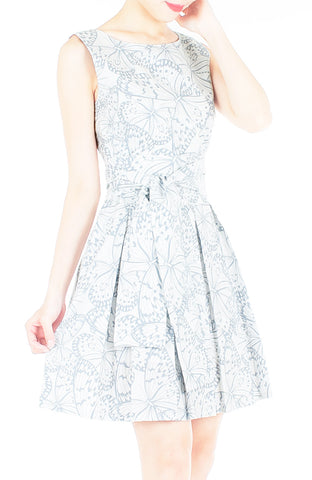 Fluttering Romance Flare Dress with Obi Belt - Dove Grey