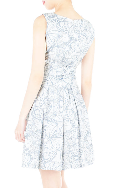 Fluttering Romance Flare Dress with Wide Belt - Dove Grey