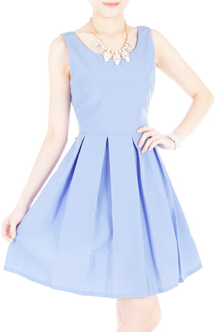 Forever Fanciful Flare Dress with Bow Back - Lavender Blue