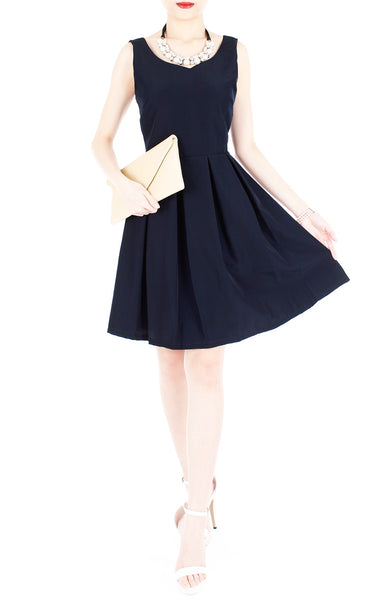Forever Fanciful Flare Dress with Bow Back - Midnight Blue
