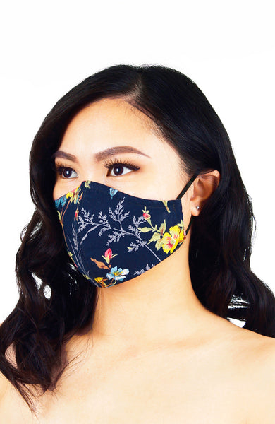 Forget me Not Ferns Pure Cotton Face Mask - Navy