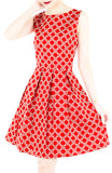 Four Leaf Clover Charm Flare Dress - Red