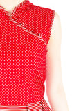 Fujisan Dots & Stripes Cheongsam Dress - Red