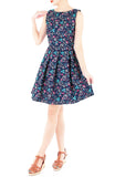 Garden-fresh Geraniums Flare Dress