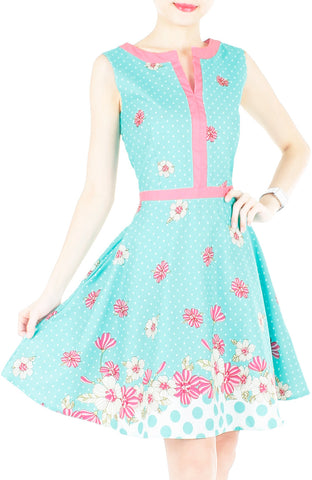 products/Garden_Crossing_Flare_Dress_with_Pink_Trims_-_Turquoise-1.jpg