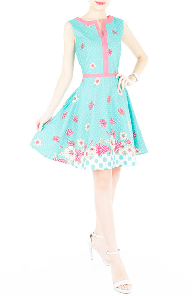 Garden Crossing Flare Dress with Pink Trims - Turquoise