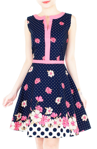 Garden Crossing Flare Dress with Pink Trims - Night Blue