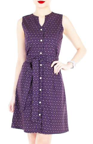 Geometric Rubix Cube A-Line Button Down Dress - Magenta