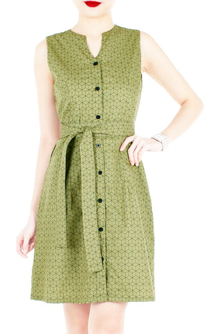 products/Geometric_Rubix_Cube_A-Line_Button_Down_Dress_Pickle_Green-1.jpg