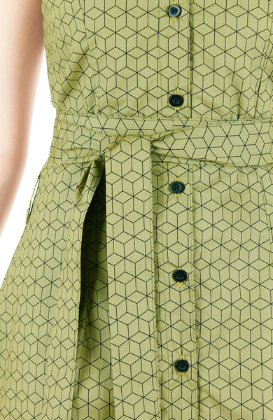 Geometric Rubix Cube A-Line Button Down Dress - Pickle Green