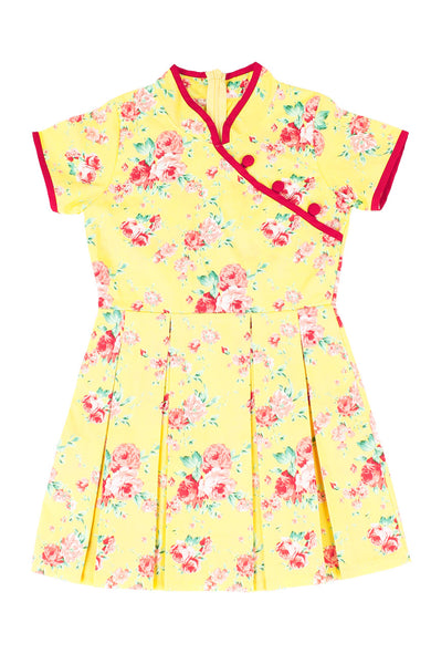 Golden Spring Peonies Cheongsam Dress