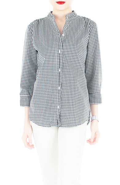 Gone Gingham ¾ Length Sleeve Shirt - Black