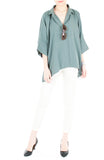 Got the World on a Swing Blouse - Sage Green