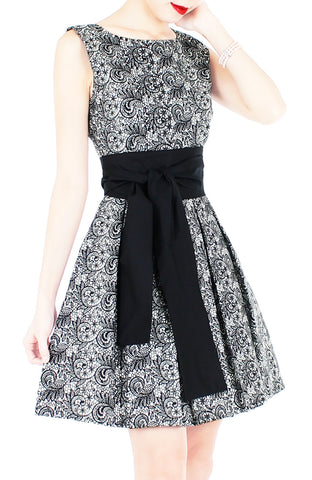 Grace and Lace Flare Dress with Obi Belt - Black