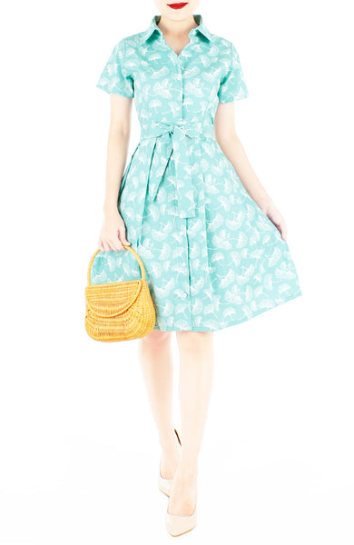 Graceful Gingko Leaf Emma Two-way Shirtdress - Mint