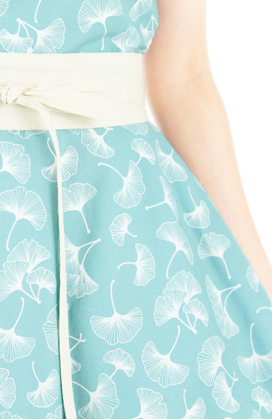 Graceful Gingko Leaf Flare Tea Dress - Mint