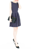 Grid Pro Quo Flare Dress - Dark Blue