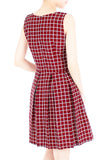 Grid Pro Quo Flare Dress - Maroon