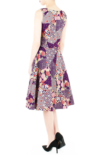 Hana Akira Flare Midi Dress in Mulberry