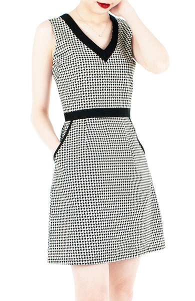 Happy Houndstooth 60s Mod A-Line Dress
