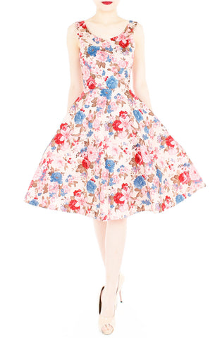 Harmonic Hibiscus Flare Midi Dress