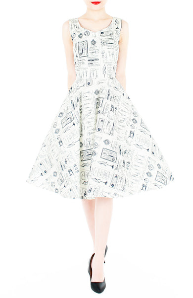 Heritage Parisian Tailleur Flare Midi Dress - White