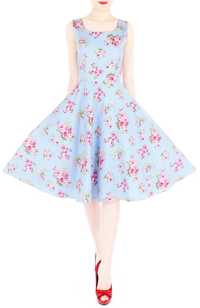 Hey, Pretty Blossom! Flare Midi Dress - Powder Blue